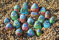 Owls - painted pebbles