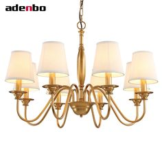 68.80$  Watch here - LED Chandelier Gold Vintage Wrought Iron Chandeliers Lighting Fixtures LED Hanging Lamp With Lampshade For Dining Room  #SHOPPING
