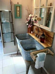 In live with this. I would do 2 faucets with barn wood counter space in between. More