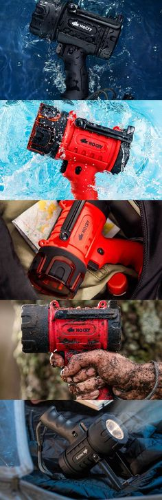 NoCry Waterproof Rechargeable Flashlight (Spotlight) with 1000 Lumen LED, Detachable Red Light Filter, Wall and Car Charger Attachments, Red Travel Gadgets, Tech Gadgets, Cool Gadgets, Gadget Store, Outdoor Gadgets, Futuristic Technology, Football Field, Latest Gadgets, Travel Products