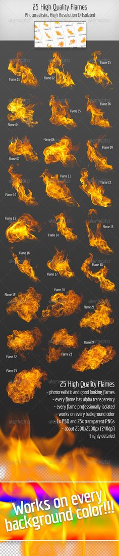 25 High Quality Hi-Res & Isolated Fire Flames - Miscellaneous Isolated Objects