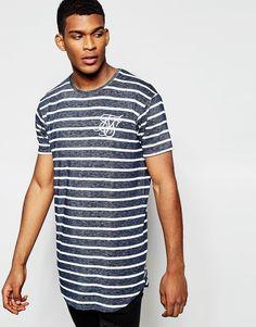 De fedeste SikSilk Longline Burnout T-Shirt With Stripe And Curved Hem - Black SikSilk Striped til Herrer til enhver anledning