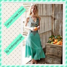 ✨Canyon Creek Dress✨ ✨Beautiful mint color dress made by Maeve....✨Fantastic refreshing color combo, boho style dress.....✨Unique pleating skirt style.....✨Sold out at Anthropologie ✨Asymmetric hem, side zip. ✨Polyester crepe...... Anthropologie Dresses Asymmetrical