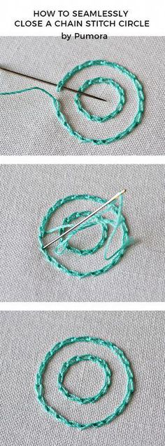 Embroidery Stitches 101 - Embroidery Patterns - The key to neat chain stitches – circles - Embroidery Stitches Tutorial, Hand Embroidery Patterns, Embroidery Techniques, Ribbon Embroidery, Knitting Stitches, Machine Embroidery, Knitting Patterns, Embroidery Kits, Quilt Patterns