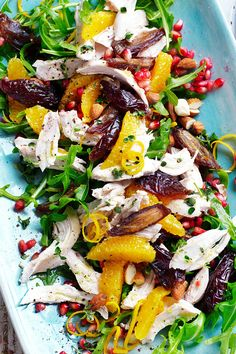 Fruity rocket salad with chicken EAT SMARTER - therezepte sites Easy Salad Recipes, Chicken Salad Recipes, Healthy Salads, Healthy Eating, Rocket Salad, Chicken Eating, Greens Recipe, Pasta, How To Make Salad