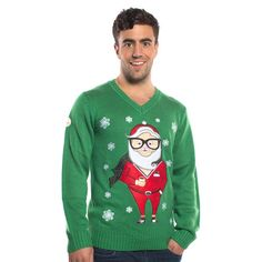 Just when you thought Hipsters couldn't get more Hipster. Hipster santa in Irish green is the perfect jumper to make a statement this Christmas. Mens Christmas Jumper, Christmas Jumpers, Santa Christmas, Christmas Sweaters, Santa Suits, Simple Rose, Hipster, Studded Boots, Cool Motorcycles