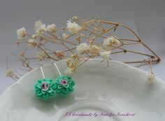 Floral earrings  Mint  Drops of happiness  Flowers  by PANARILI