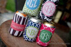 drink koozie - customizable DAMASK pattern with monogram. $12.00, via Etsy.