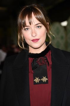 Best Celebrity Beauty Looks This Week  - Dakota Johnson with wine red lips and brushed up brows