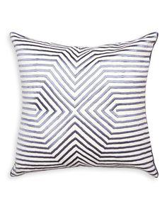 Stella Satin-Stitch Pillow, Black/White
