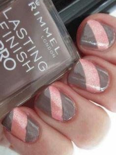 Nails orange stripe instead of pink