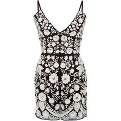 Needle & Thread Aubergine Embroidery Motif Playsuit ($530) ❤ liked on Polyvore featuring jumpsuits, rompers, dresses, needle & thread, floral cami, floral print romper, white short romper, floral camisole and floral romper