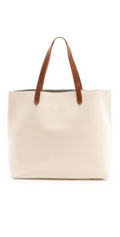 cream pebbled leather tote