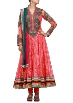 Orange anarkali dress with resham and stone embroidery-Hand Made