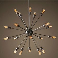 Satélite tubería de hierro chandelier industrial Vintage colgante de hierro forjado luz esférica lámpara de araña Edison bombillas AC 110 V - 240 V(China (Mainland))