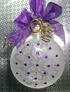 Purple and Gold Etched Glass Ornament