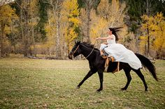 Tracey Buyce Photography  • 59 minutes ago Equestrian bride canters side saddle on her wedding day the family's horse ranch | Wedding horses