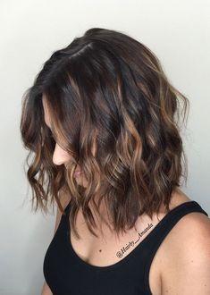 Balayage for short dark hair! Short Length Haircuts, Short Hair Cuts, Short Pixie, Pixie Cut, Short Hairstyles For Women, Bob Hairstyles, Layered Hairstyles, Short Brunette Hairstyles, Crazy Hairstyles