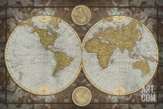 World Map Art Print by Elizabeth Medley. Save up to 40% for a limited time at Art.com.