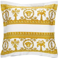 Versace Barocco&Robe Double Face Cushion Cover - 50x50cm ($125) ❤ liked on Polyvore featuring home, home decor, throw pillows, patterned pillowcases, versace bedding, white bedding, square pillowcases and white pillow cases