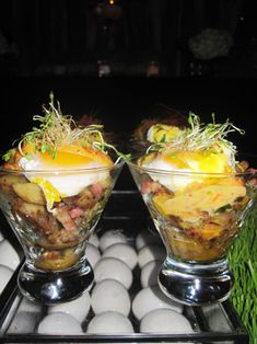 Hash Bar with Soft Poached Eggs served in Martini Glasses by Mena Catering