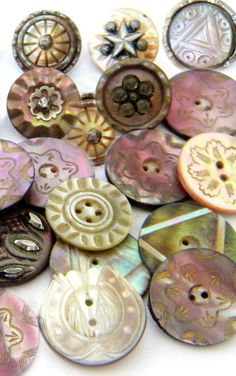 Vintage Victorian cut steel picture carved shell MOP buttons. It can be the little things that add beauty to the world around us. <3 Button Art, Button Crafts, Sewing Tools, Mother Of Pearl Buttons, Mother Pearl, Sewing Studio, Jewel Tones, Vintage Sewing Notions, Button Bracelet