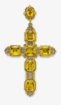 Citrine and Diamond Cross Pendant by Mellerio