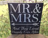 Mr & Mrs - Solid Wood, Rustic Wall Decor. Perfect Wedding Gift! ... and they lived happily ever after!