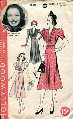 Hollywood 1550 dress featuring June Travis of Warner Bros.
