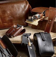 King's Crown shaving accessories – aren't they gorgeous? Men Shaving, Kings Crown, Travel Kits, Men's Grooming, Leather Case, Messenger Bag, Satchel, Wallet, Bags