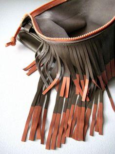 brown bag with orange fringe