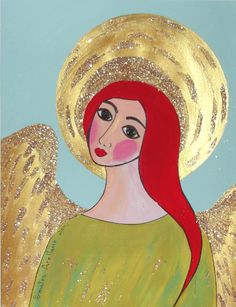 GUARDIAN ANGEL   Original Acrylic MEXICAn FOLk ARt Painting via Etsy.