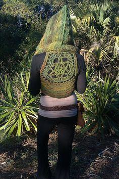 Hooded Rainforest Wanderer Pixie Vest With Mandala Accent Custom Made- Knit Crochet Gypsy Hippie Hippy Sweater Jacket Vest Womens Clothing. $145.00, via Etsy.