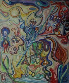 Don Quijote y Sancho alejándose de los Molinos de viento óleo sobre lienzo 120 x 100 cms 2014