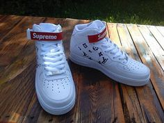 Custom made Supreme x Louis Vuitton inspired Nike Air Force! Check out our existing designs or create your own custom shoe and t-shirt!Our shop offers hand-painted,high quality unique stuff.For your own personalized item please contact us! All the sneakers are authentic and brand new.We can