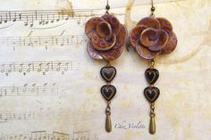 Autumn cappuccino brown Flower heart earrings Polymer jewelry