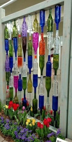 , Favorite 80 Ways to Reuse Your Glass Bottle Ideas. , 80 Ways to Reuse Your Glass Bottle Ideas Glass Bottle Crafts, Diy Bottle, Bottle Art, Wine Bottle Fence, Wine Bottle Trees, Reuse Wine Bottles, Wine Bottle Lanterns, Wine Bottle Glasses, Garrafa Diy