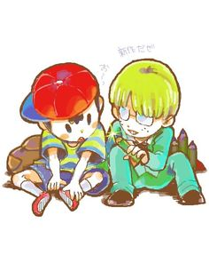 Ness And Jeff By ぼね#EarthBound #Ness #Snes #FanArt Source: