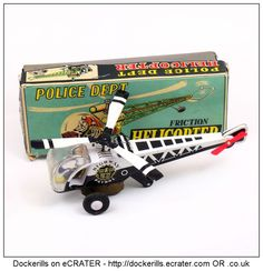 Police Department Helicopter, ICHIMURA, Japan (1 of 2). Vintage Tin Litho Tin Plate Toy. Friction Drive Mechanism.