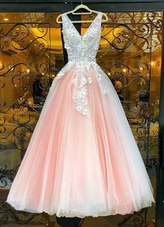 V Neck Pink Lace Appliques Long Sweet 16 Prom Dress, Pink Lace Formal Dress, Pink Evening Dress Pink Prom Dresses, Pink Dress, Formal Dresses, Dress Prom, Pink Tulle, Pink Lace, Tulle Lace, White Lace, Pink Evening Dress