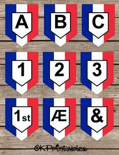 French Flag Banner Set - Flag of France, Drapeau de la France, Français, Français Fête,Paris, Language Teaching, Printable, Instant Download by OKprintables on Etsy