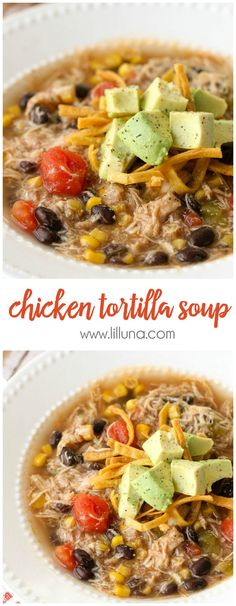 The BEST Chicken Tortilla Soup recipe - easy and delicious - the best kinds of recipes! { lilluna.com } #soup