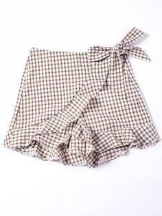 Bowknot Plaid Flat Zipper Mid Loose Fashion Self Tie Vichy Ruffle Shorts - Mode Féminine Gingham Shorts, Patterned Shorts, Denim Shorts, Girl Outfits, Cute Outfits, Fashion Outfits, Short Niña, Culotte Shorts, Kid Outfits