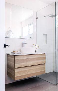 White Magic — Adore Home Magazine Bathroom Renos, Bathroom Cabinets, Bathroom Vanities, Bathroom Ideas, Double Shower, Floating Vanity, White Magic, Oak Cabinets, House And Home Magazine