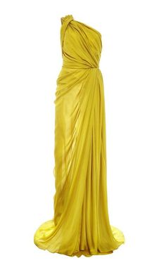 Silk Satin Chiffon One Shoulder Gown by Monique Lhuillier for Preorder on Moda Operandi