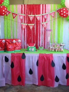 A cheerful, colorful watermelon themed birthday party for younger child . or graduation party for older child . or a great summer party table for foods & drinks! Baby Shower Watermelon, Watermelon Birthday Parties, Birthday Fun, First Birthday Parties, Birthday Party Themes, First Birthdays, Birthday Ideas, Watermelon Party Decorations, Watermelon Dessert
