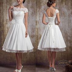 Stock Size 4 6 8 10 12 14 White/Ivory Vintage Lace Short Wedding Dresses Gowns #Handmade #Wedding