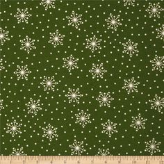 Crazy for Christmas Flannel Tossed Snowflake Green from @fabricdotcom  Designed by Bonnie Sullivan for Maywood Studio, this double napped (brushed on both sides) flannel fabric is perfect for quilting and apparel. Colors include white and green.