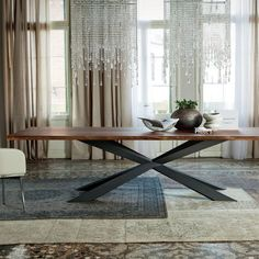 Gather friends and family around the Spyder wood table for dinner. This modern wood top dining table is available with your choice of top and base finish. Dinning Table Design, Modern Dining Table, Dining Room Table, Table And Chairs, Dining Area, Italian Furniture Stores, Cheap Dining Room Sets, Esstisch Design, Decoration Table