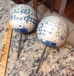 Vintage Golf Course Tee Markers  Large Golf Balls Spiked Yard Art Golfer